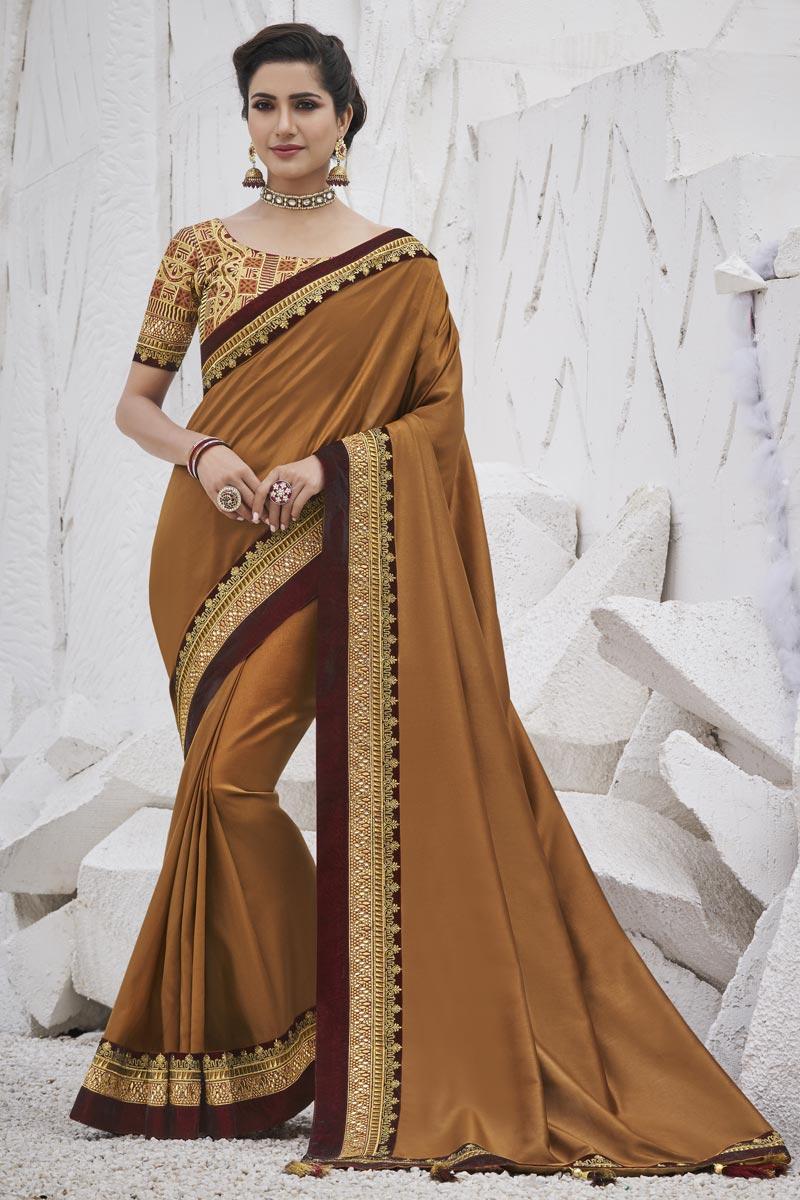 Brown Color Trendy Sangeet Wear Art Silk Fabric Border Work Saree