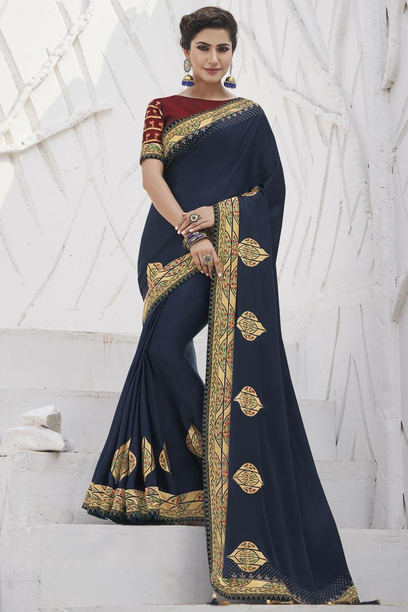 Art Silk Fabric Sangeet Wear Navy Blue Color Trendy Border Work Saree