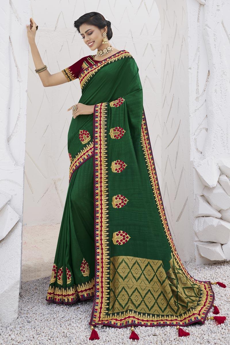 Green Color Trendy Sangeet Wear Art Silk Fabric Border Work Saree