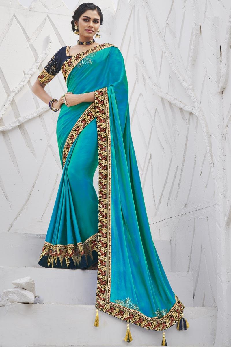 Art Silk Fabric Sangeet Wear Sky Blue Color Trendy Border Work Saree