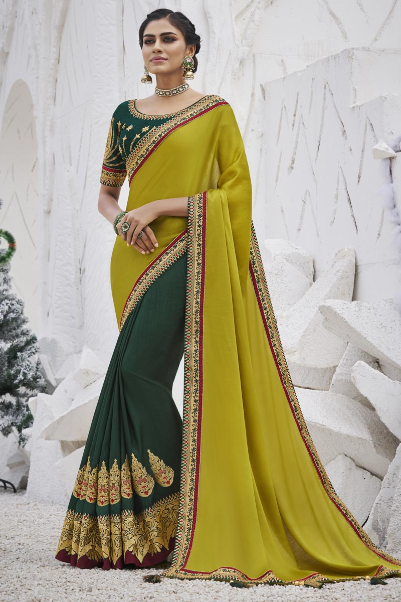 Dark Green Color Sangeet Wear Fancy Art Silk Fabric Border Work Saree