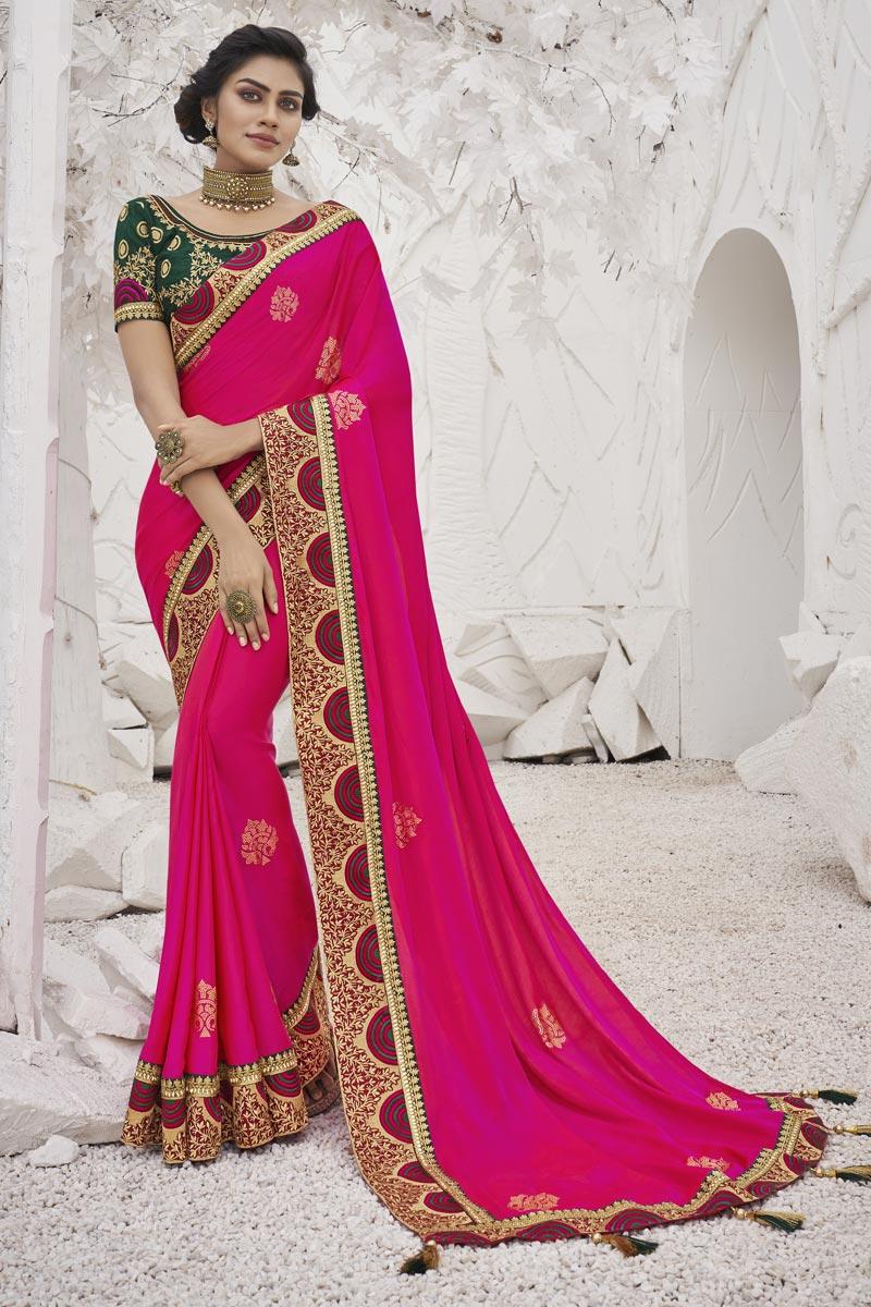 Rani Color Sangeet Function Wear Trendy Art Silk Fabric Border Work Saree