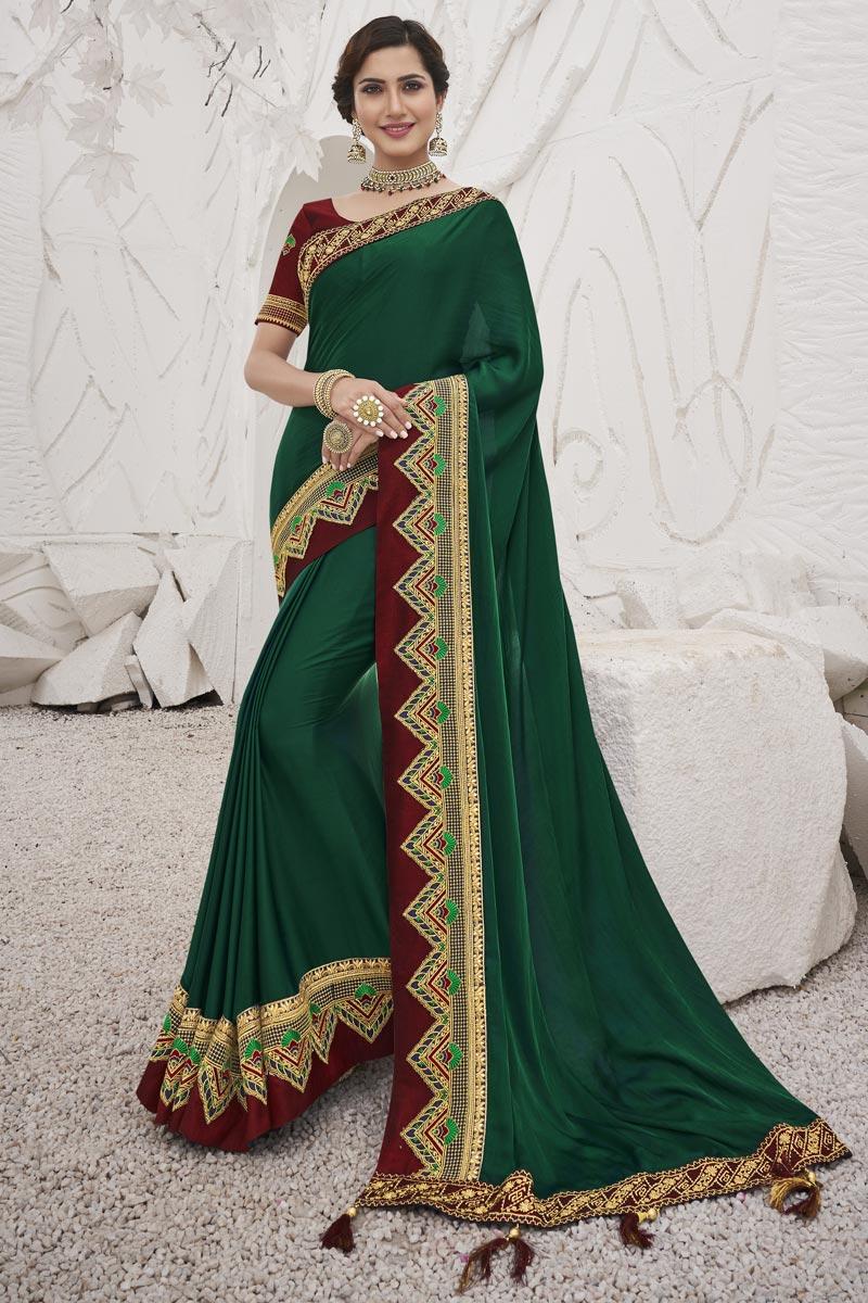Art Silk Fabric Trendy Sangeet Function Wear Dark Green Color Border Work Saree