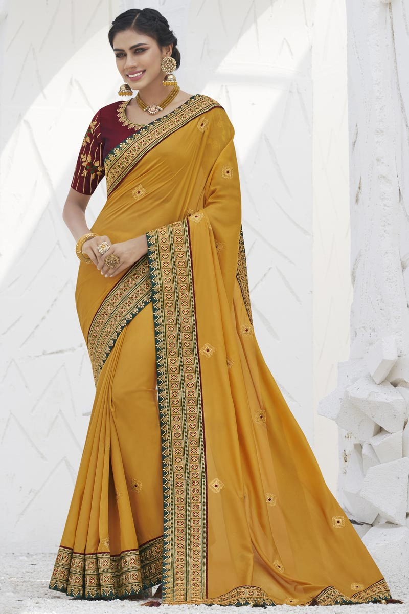 Yellow Color Sangeet Function Wear Art Silk Fabric Trendy Border Work Saree