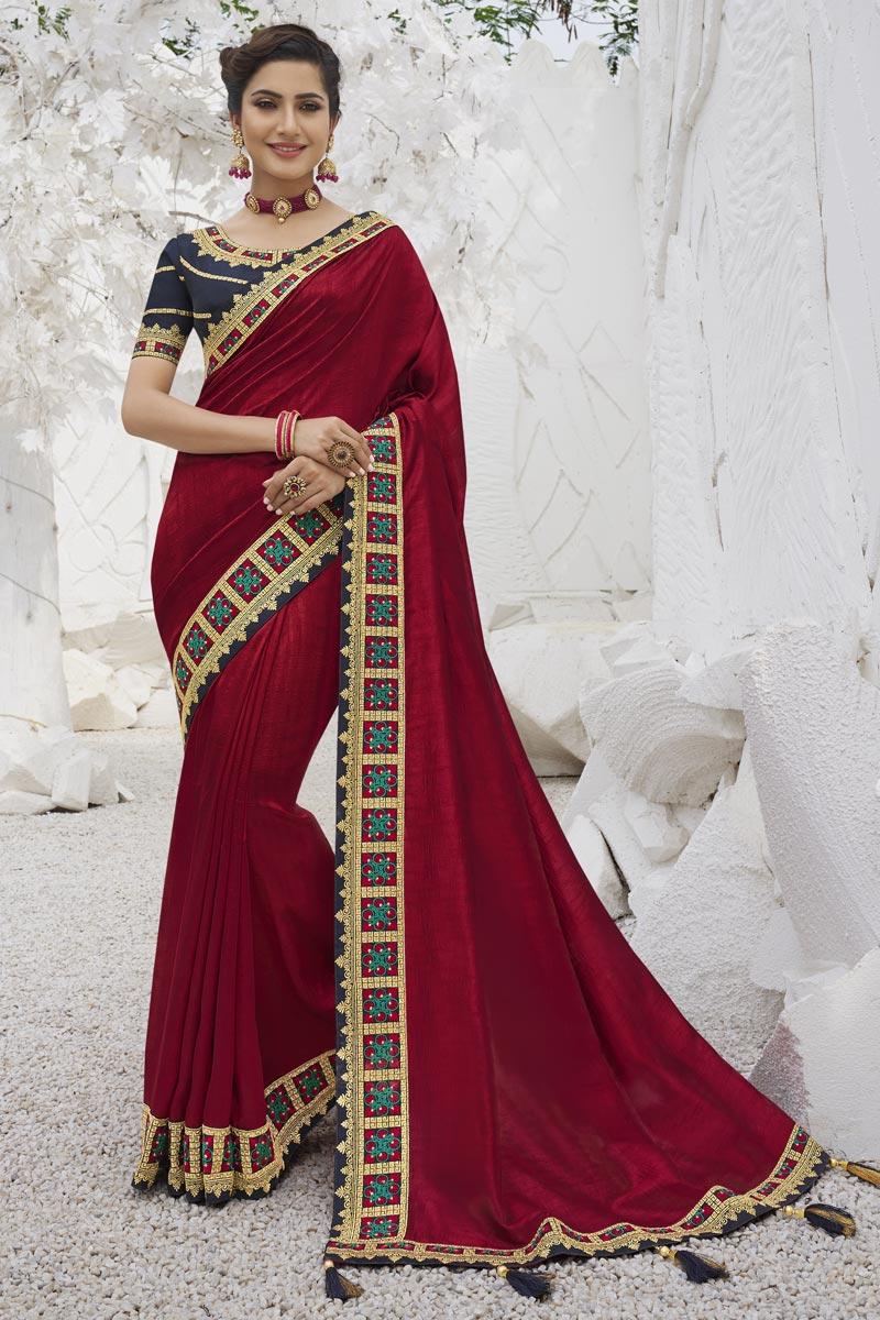 Art Silk Fabric Trendy Sangeet Function Wear Maroon Color Border Work Saree
