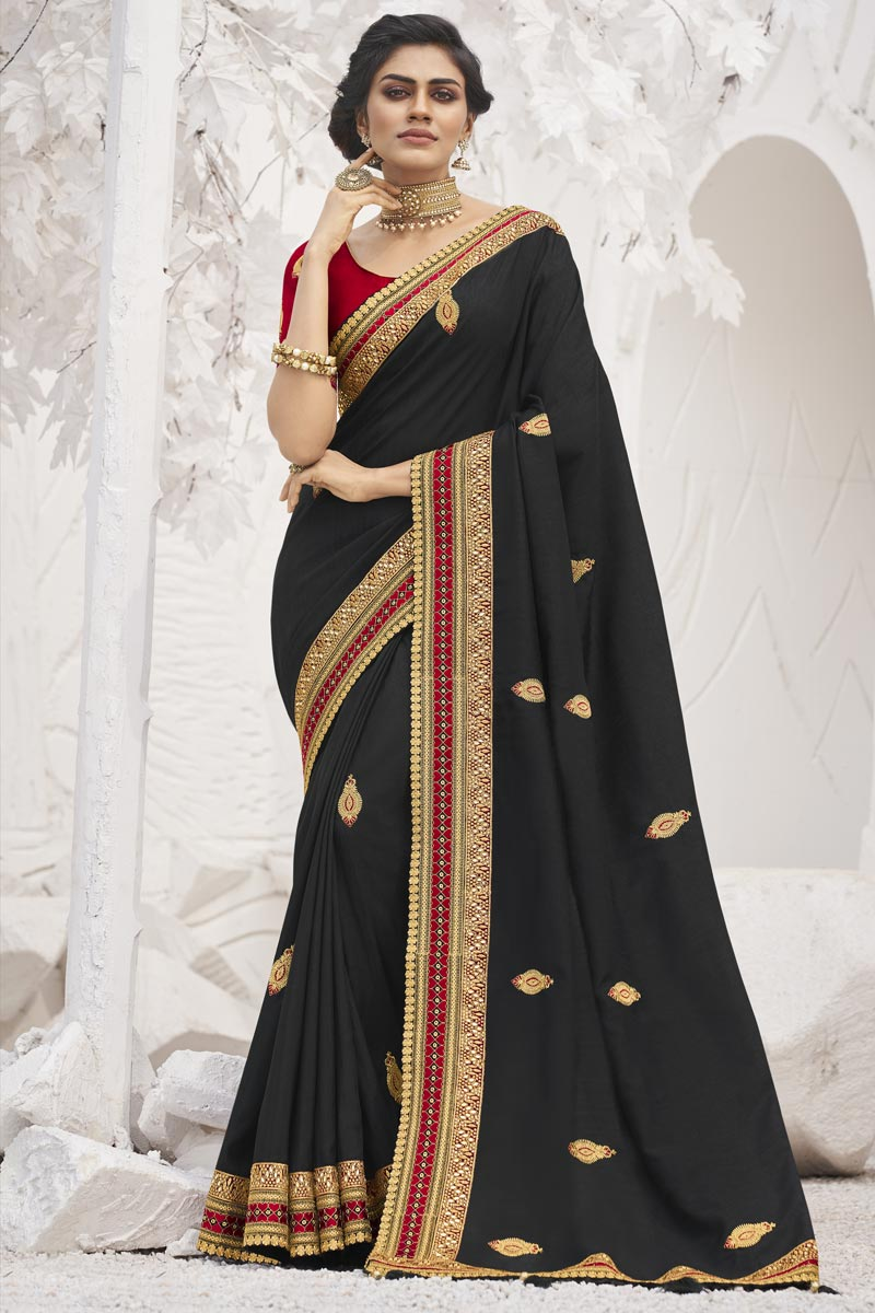 Black Color Sangeet Function Wear Art Silk Fabric Trendy Border Work Saree
