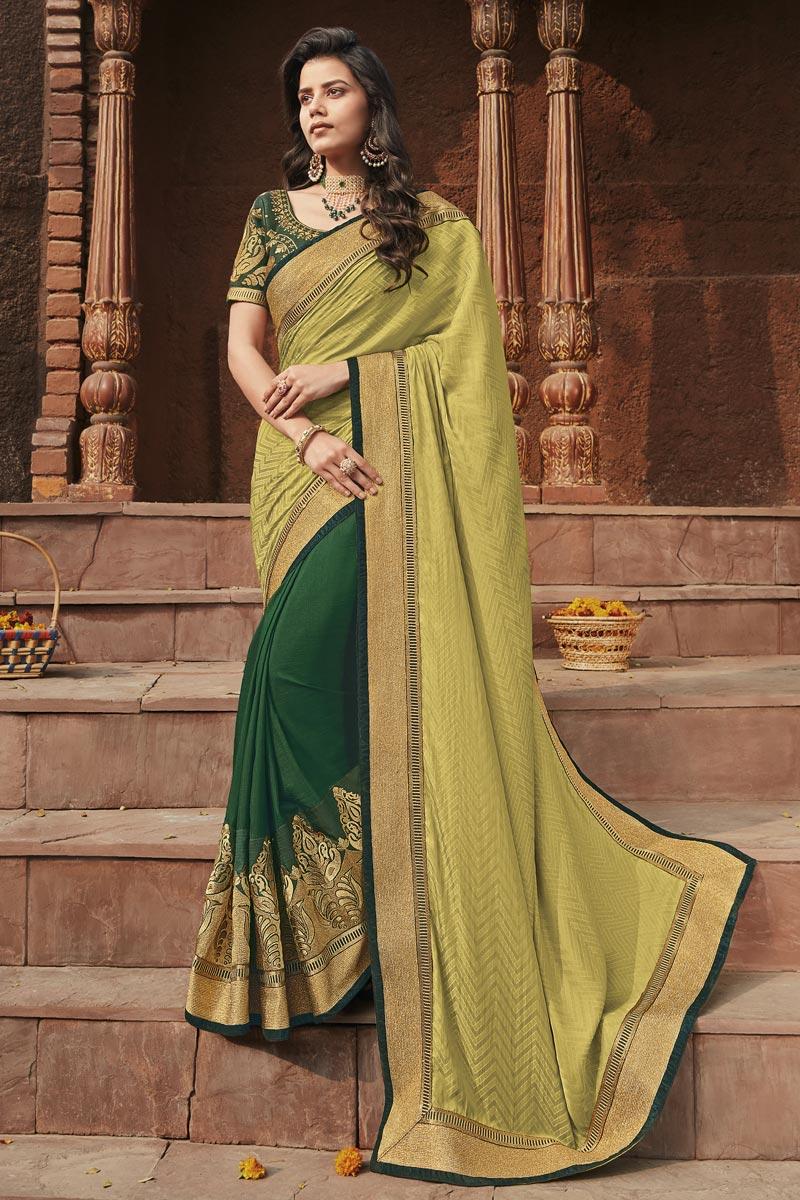 Khaki Color Designer Saree In Fancy Fabric