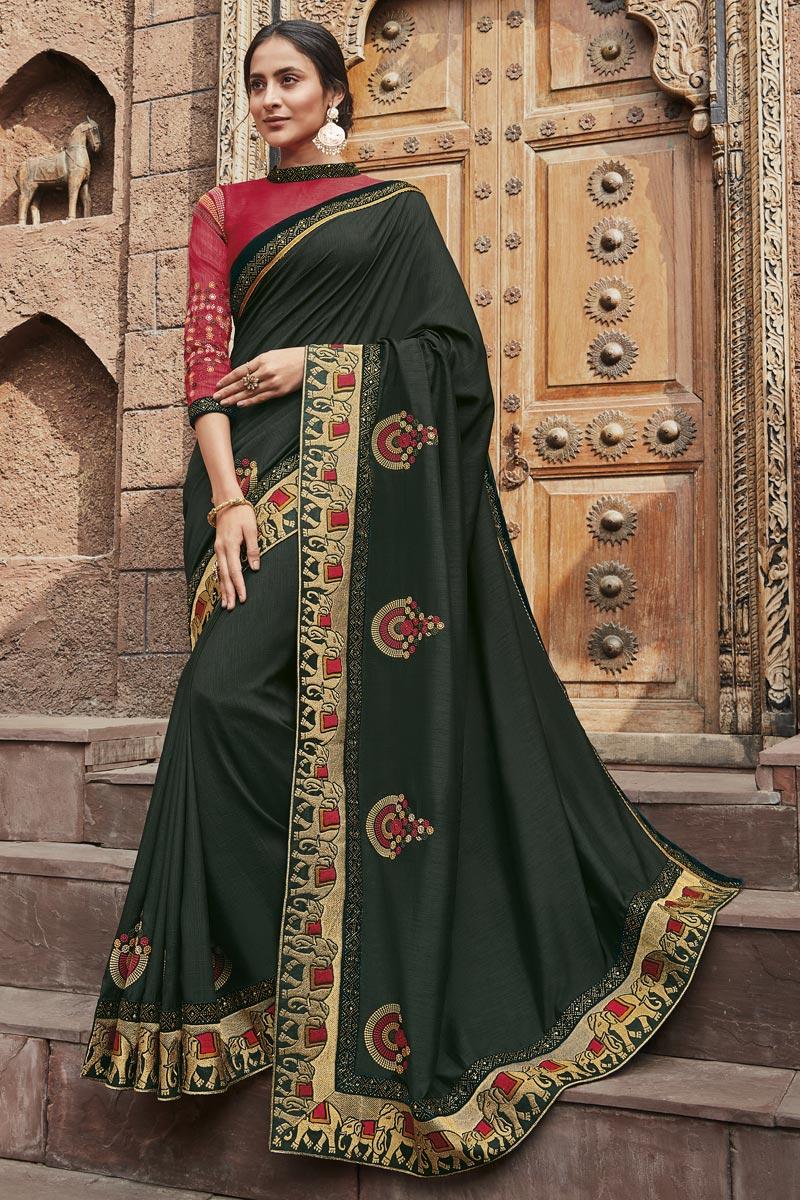Black Color Fancy Fabric Festive Wear Saree