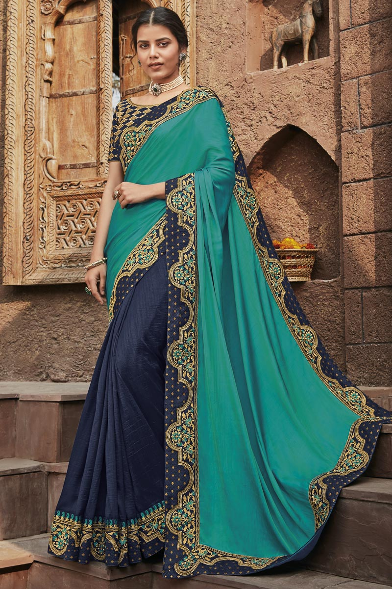 Cyan Color Fancy Fabric Function Wear Saree