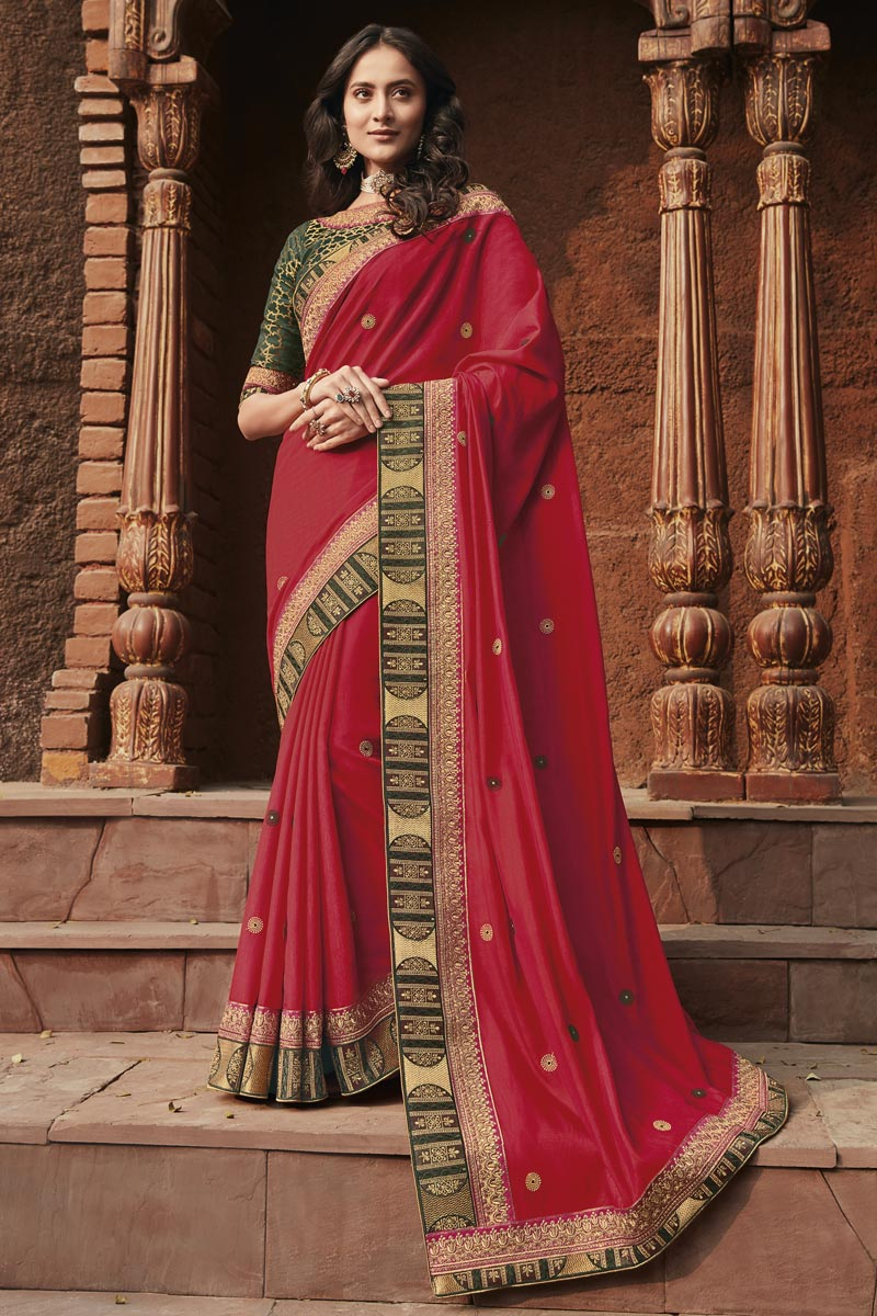 Red Color Fancy Fabric Border Work Saree