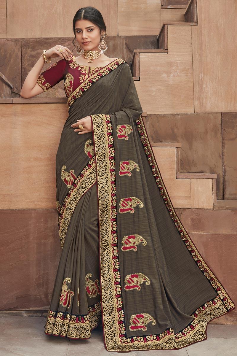 Fancy Fabric Festive Wear Saree In Dark Beige Color