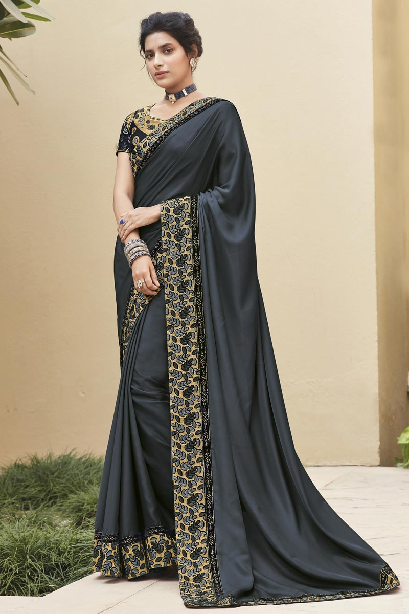 Grey Color Designer Embroidery Work Saree In Fancy Fabric
