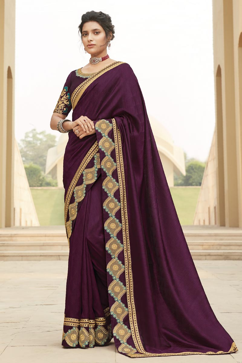Fancy Fabric Party Wear Embroidery Work Saree In Purple Color