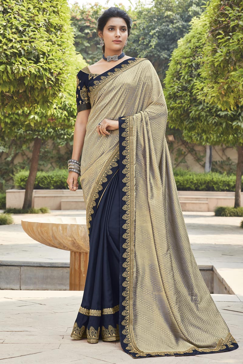 Grey Color Traditional Embroidery Work Saree In Fancy Fabric