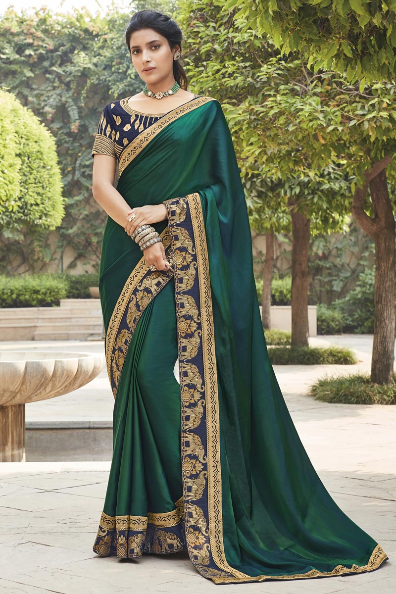 Dark Green Color Fancy Fabric Function Wear Embroidery Work Saree