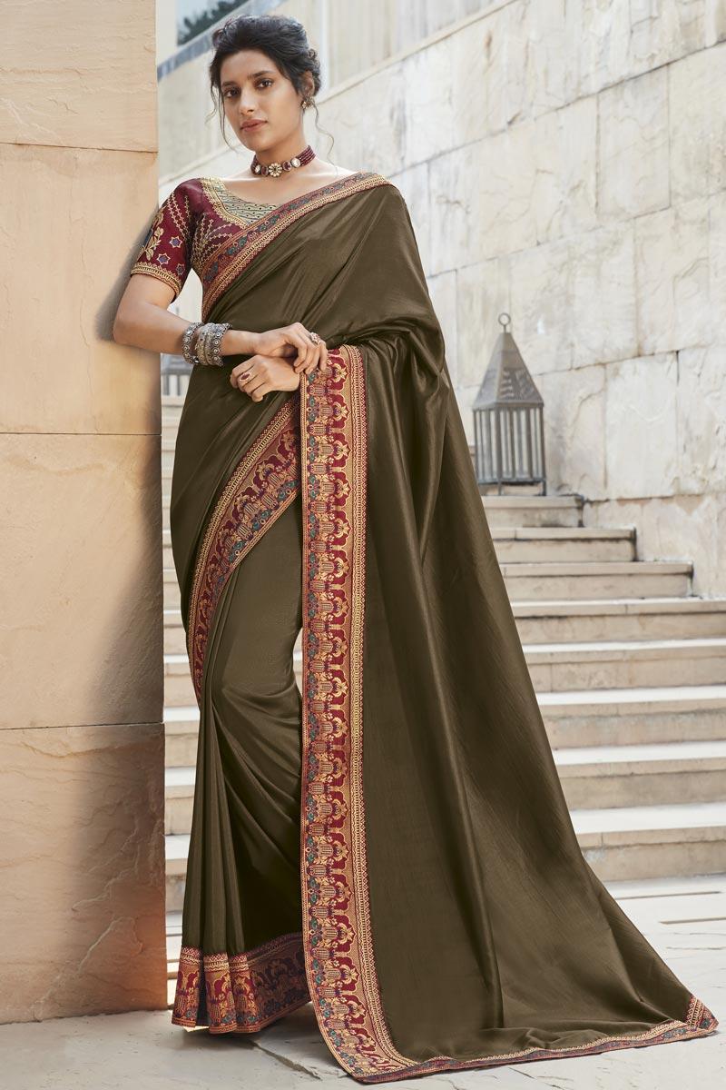Fancy Fabric Dark Brown Color Designer Embroidery Work Saree
