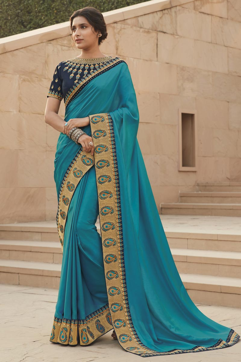 Sky Blue Color Party Wear Embroidery Work Saree In Fancy Fabric