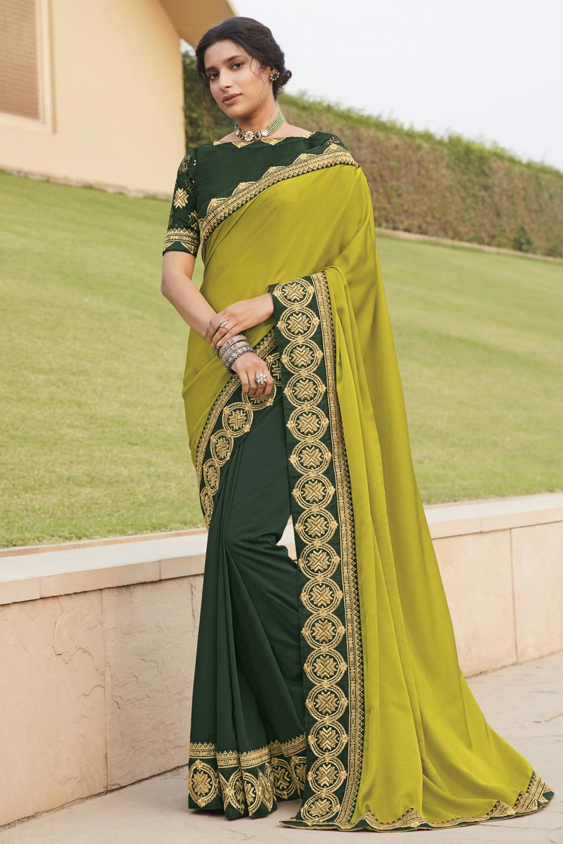 Lime Yellow Color Fancy Fabric Occasion Wear Embroidery Work Saree