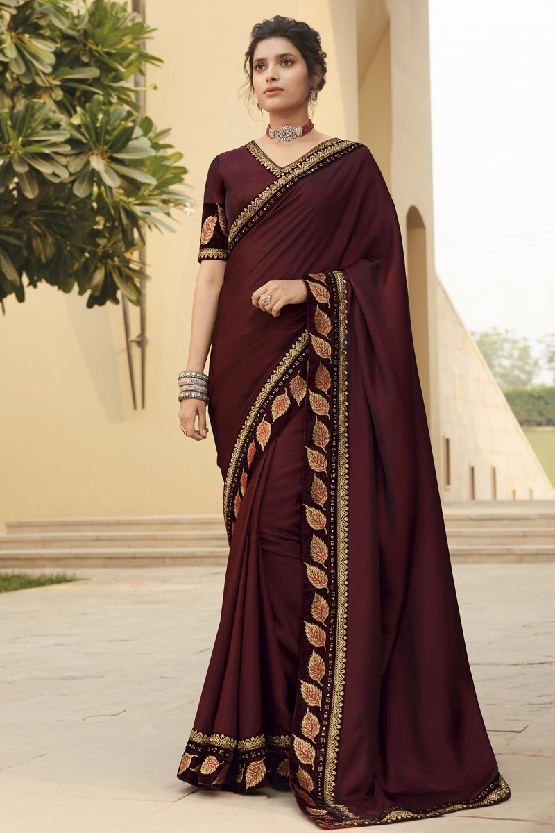Function Wear Maroon Color Embroidery Work Saree In Fancy Fabric