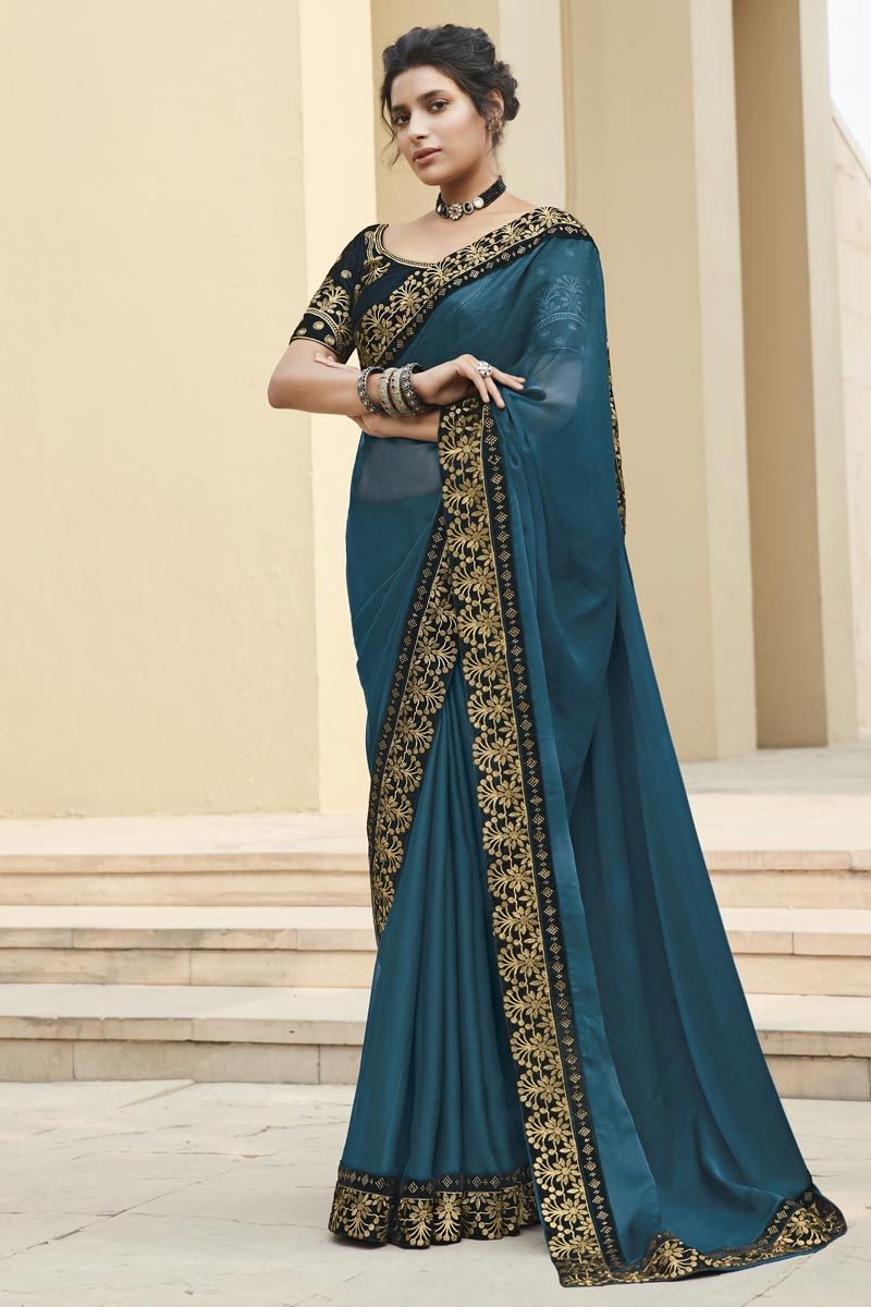Navy Blue Color Fancy Fabric Occasion Wear Embroidery Work Saree