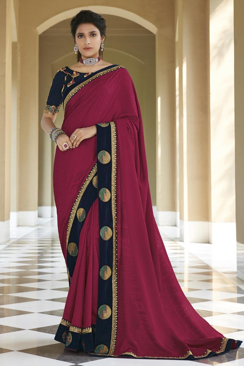 Dark Pink Color Fancy Fabric Sangeet Wear Embroidery Work Saree