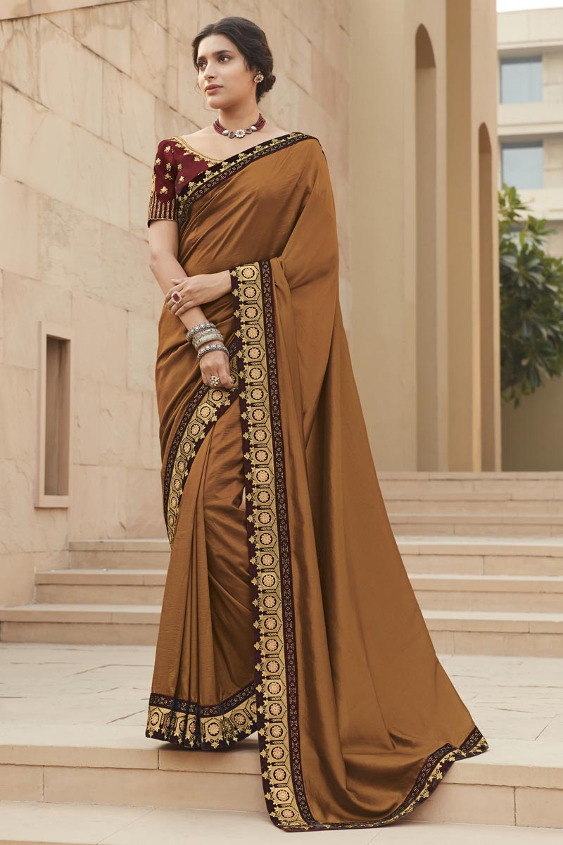Fancy Fabric Light Brown Color Embroidery Work Saree