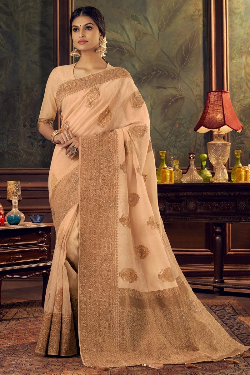 Art Silk Fabric Festive Wear Fancy Peach Color Weaving Work Saree