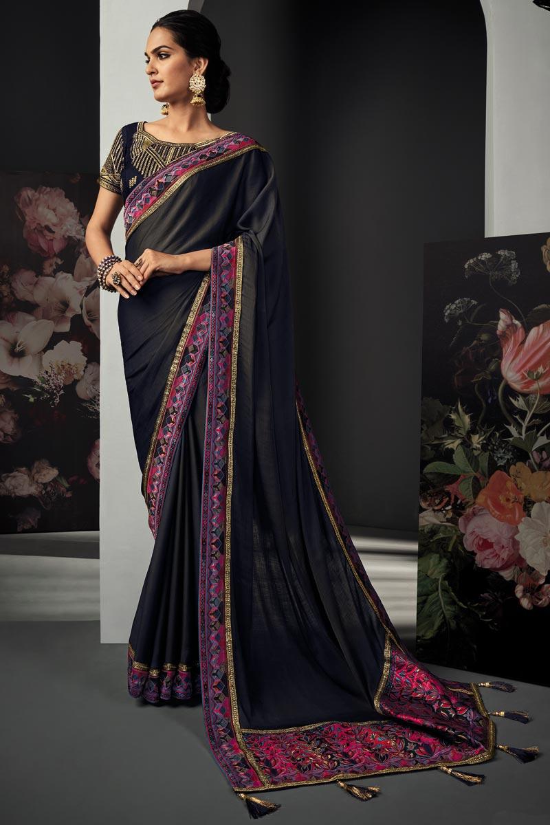 Festive Wear Navy Blue Color Border Work Saree In Art Silk Fabric