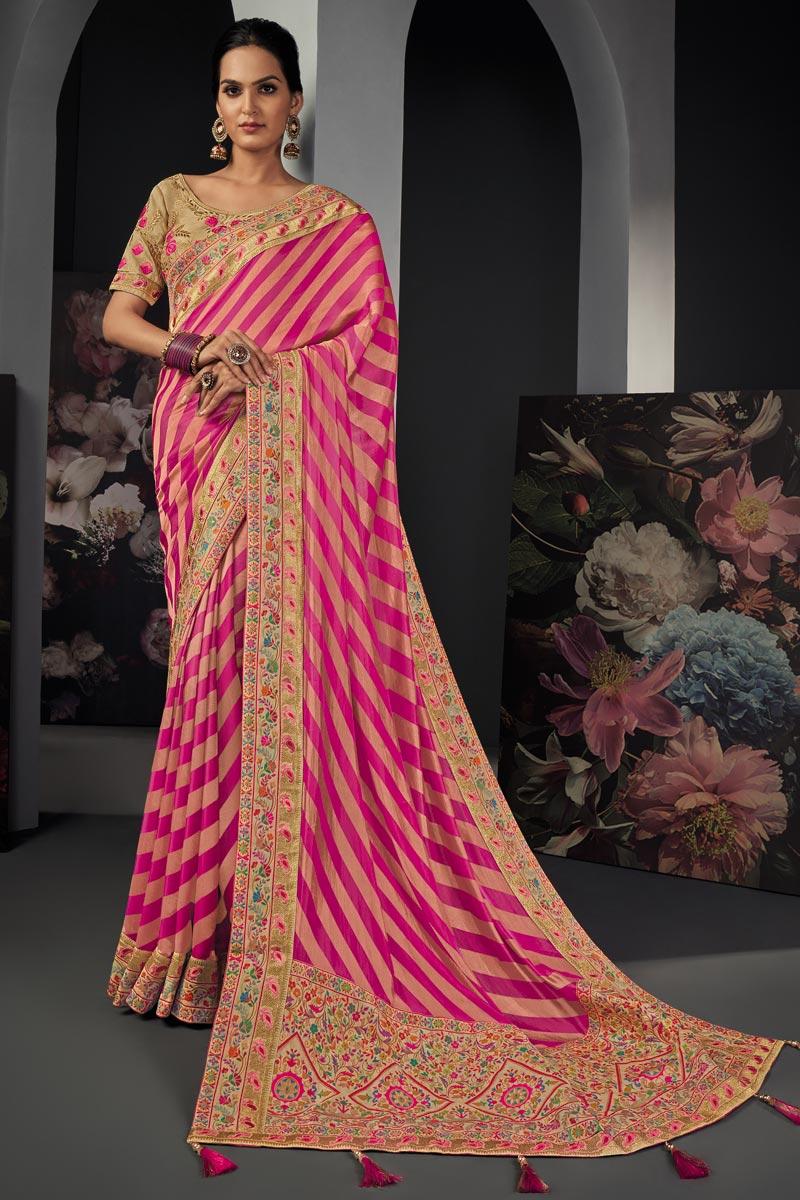 Pink Color Art Silk Fabric Border Work Saree