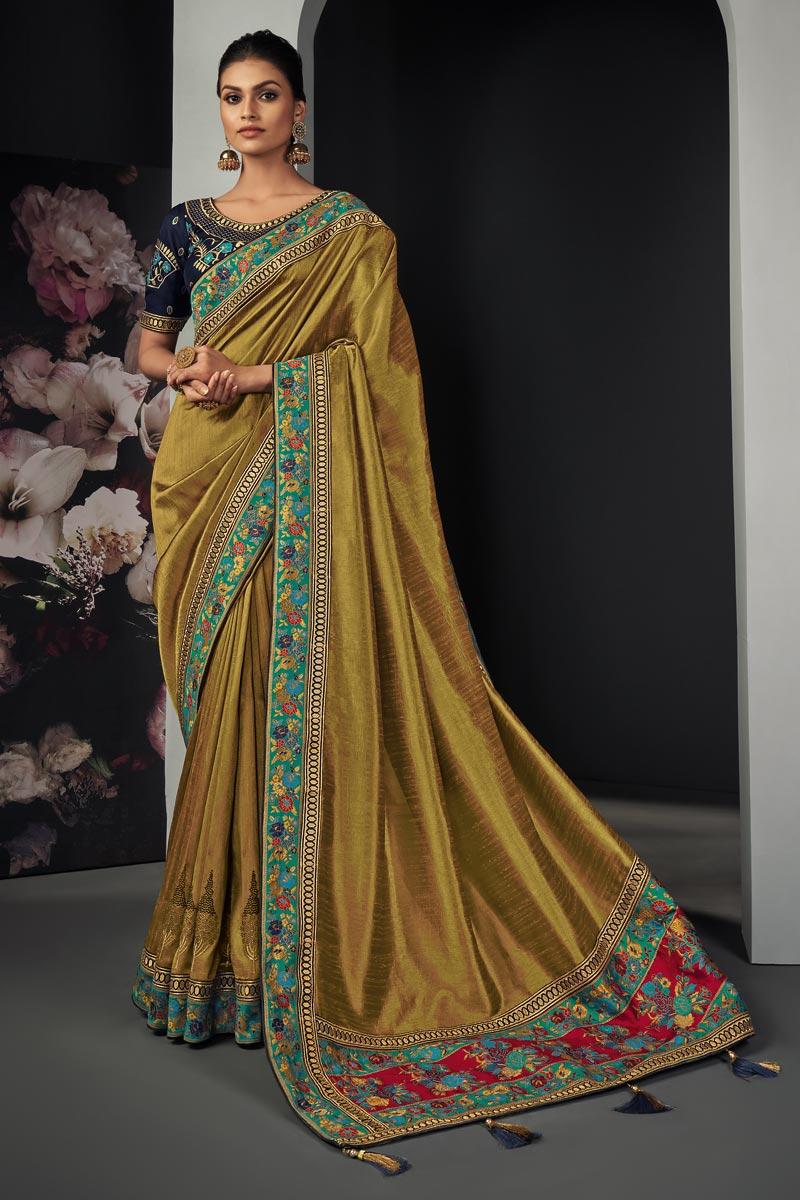Festive Wear Khaki Color Border Work Saree In Art Silk Fabric