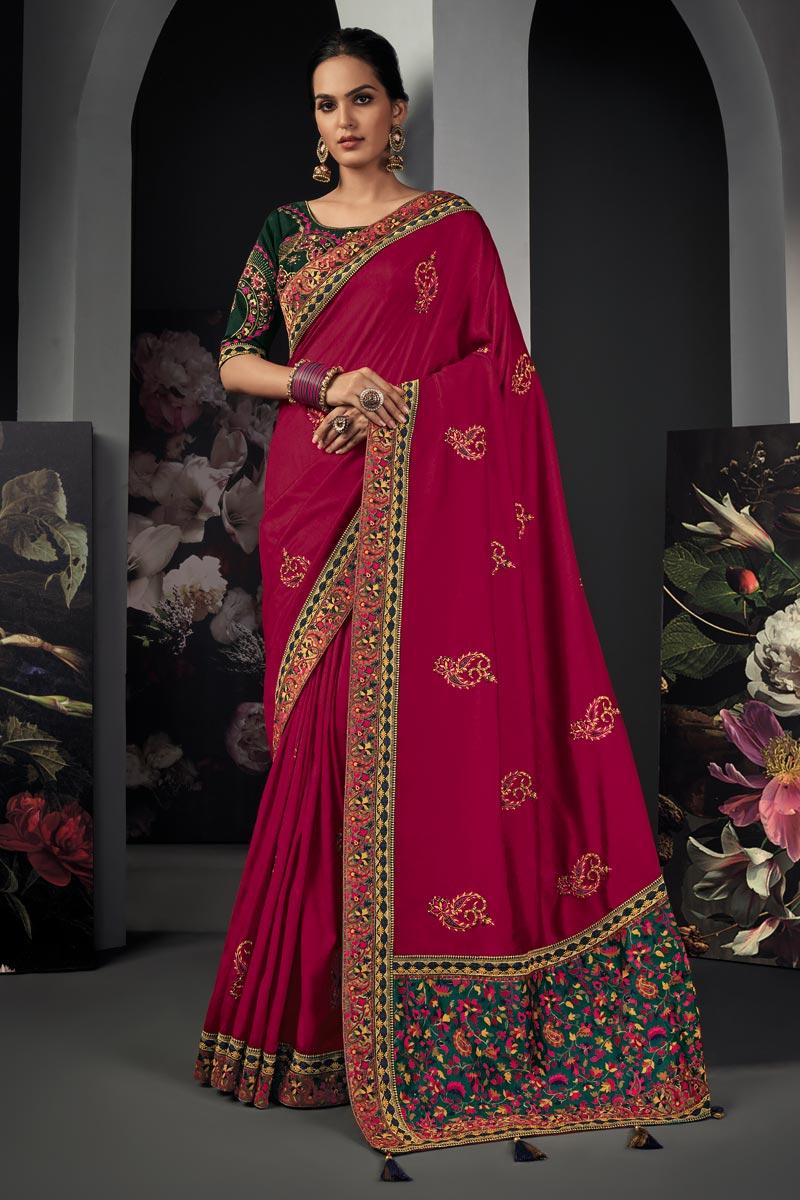 Rani Color Art Silk Fabric Border Work Saree