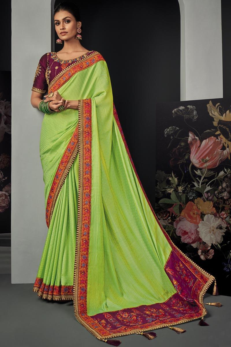 Sea Green Color Party Wear Art Silk Fabric Border Work Saree