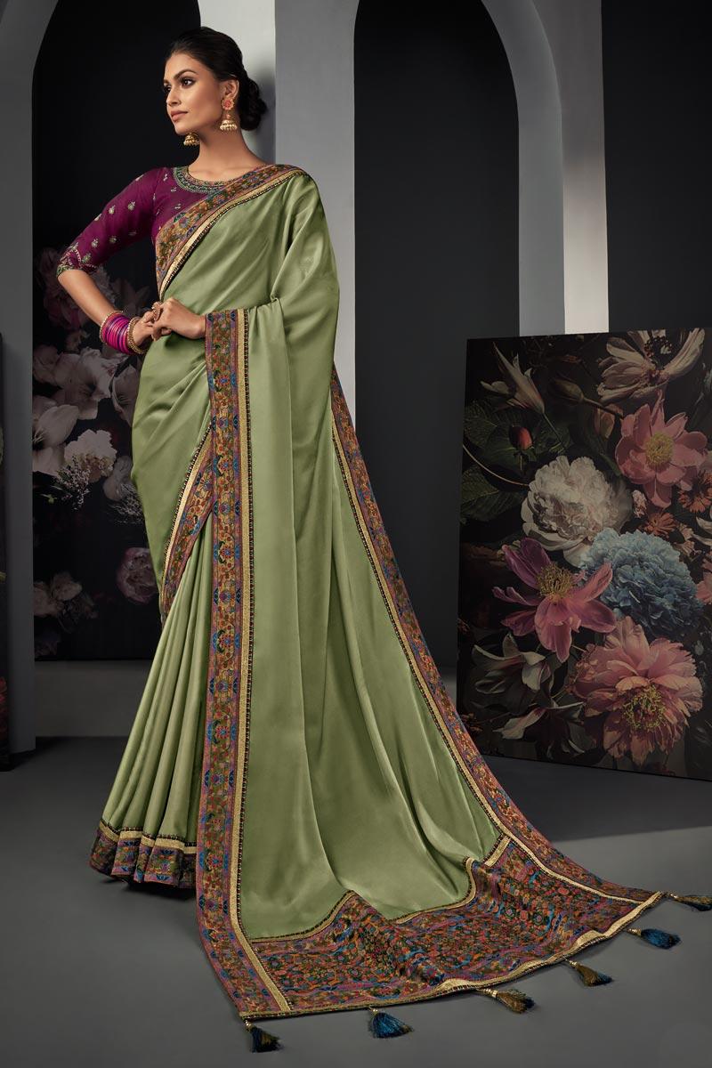 Art Silk Fabric Border Work Saree In Sea Green Color