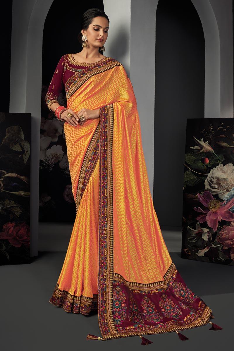 Art Silk Fabric Reception Wear Orange Color Border Work Saree