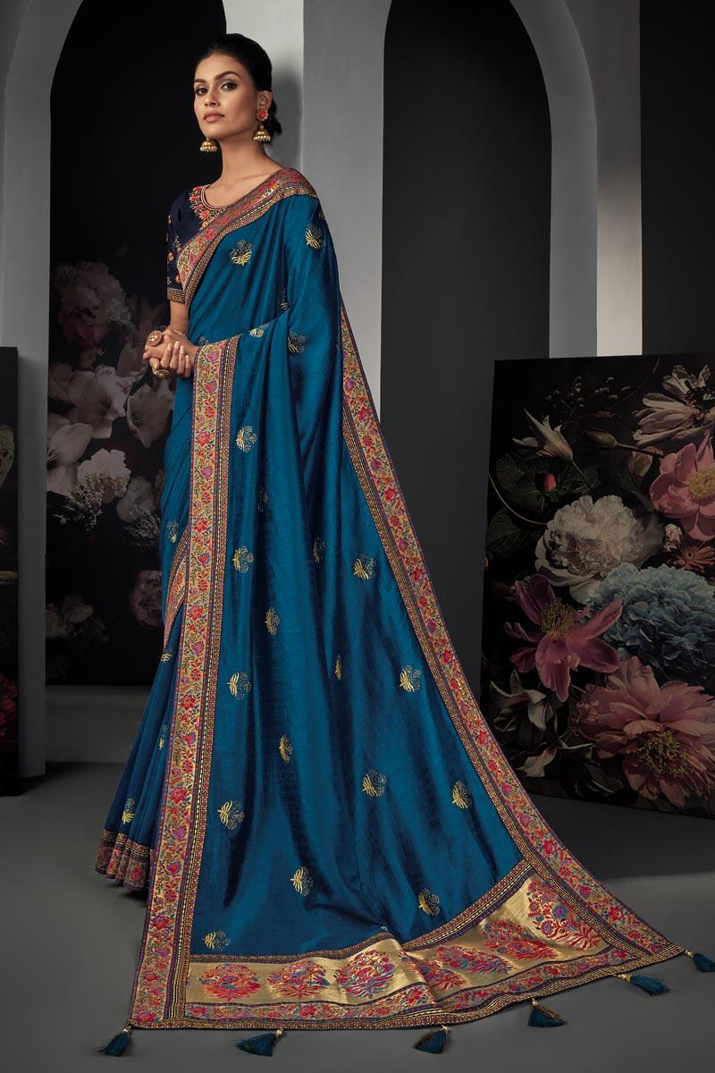 Art Silk Fabric Party Wear Teal Color Border Work Saree
