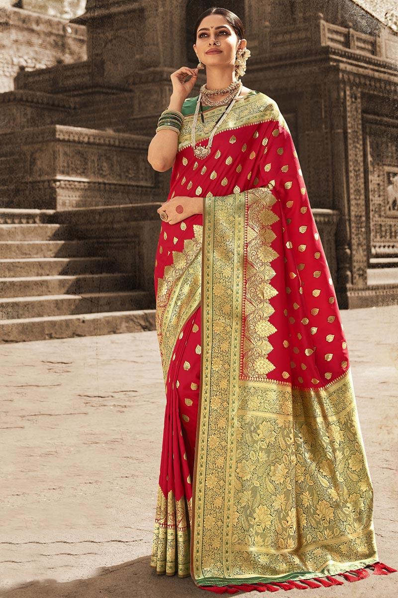 Art Silk Fabric Puja Wear Red Color Weaving Work Saree