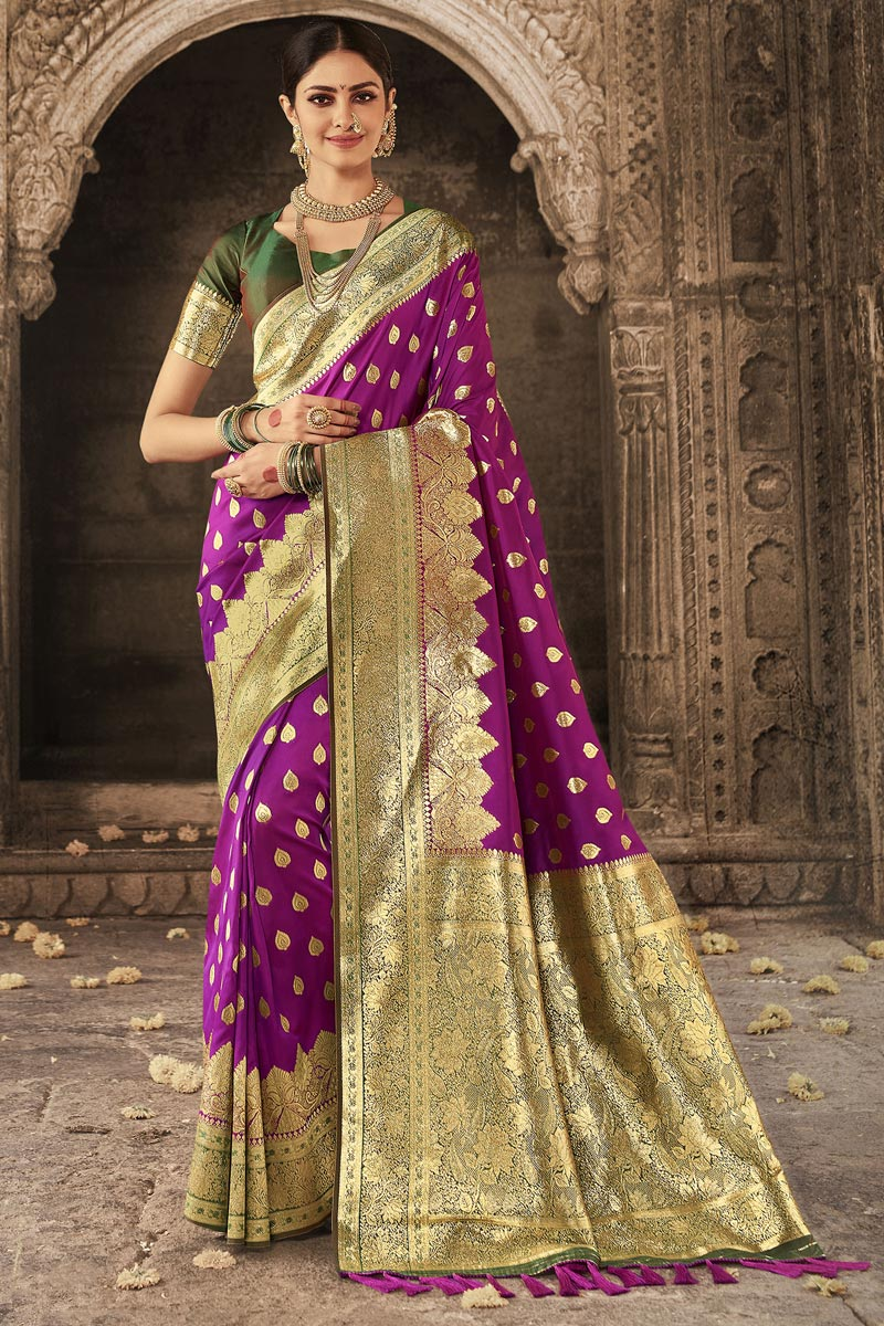 Purple Color Function Wear Designer Art Silk Fabric Weaving Work Saree