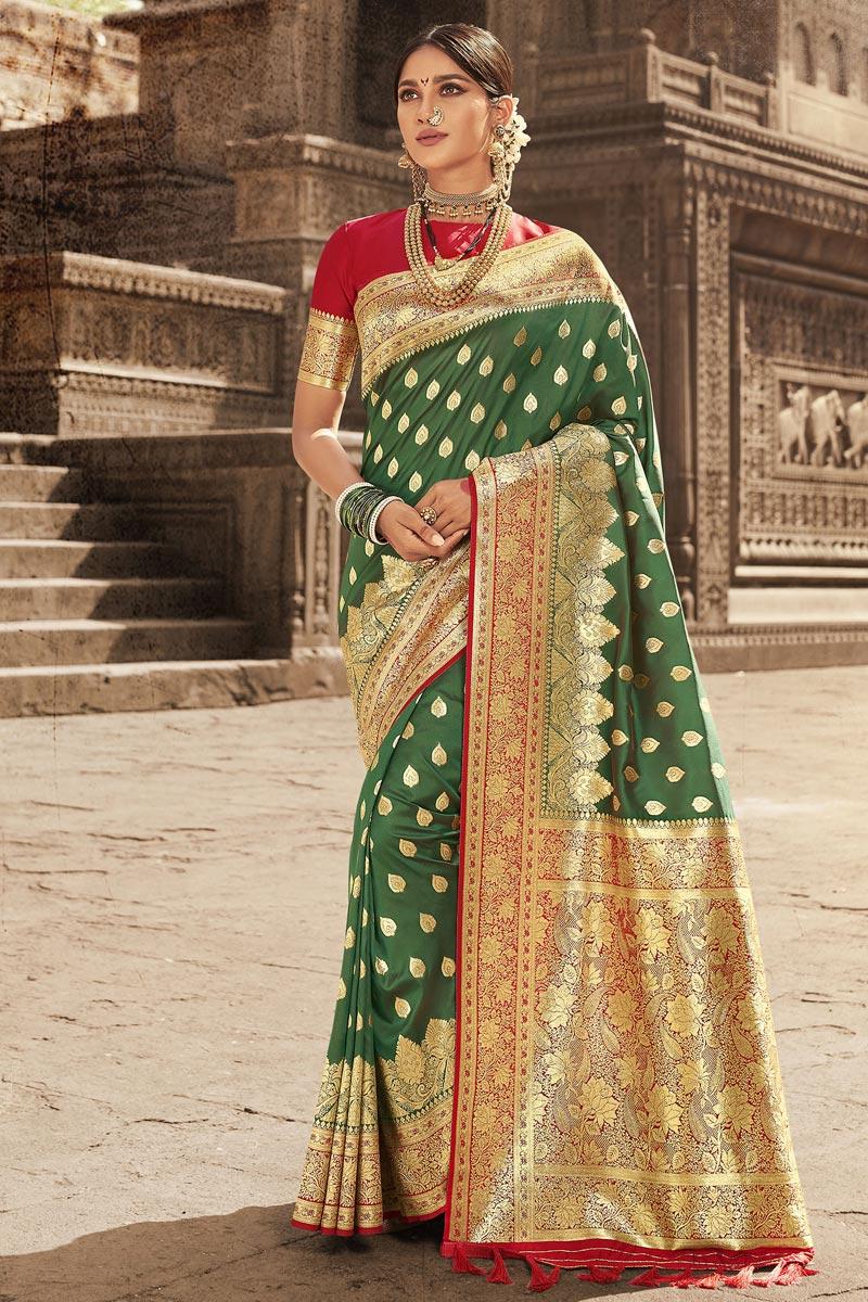 Art Silk Fabric Festive Wear Green Weaving Work Saree
