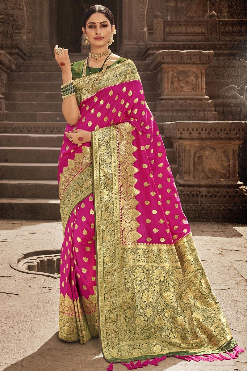 Party Wear Rani Color Art Silk Fabric Designer Weaving Work Saree