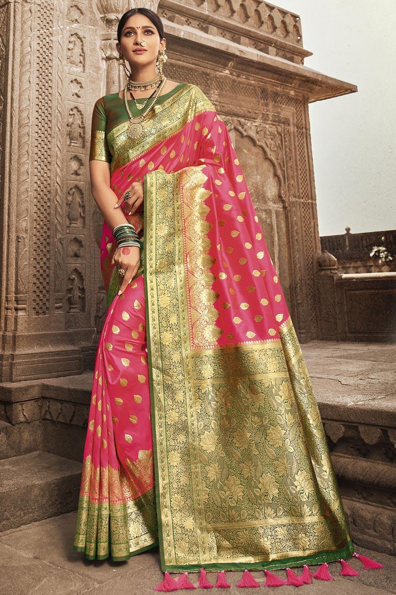 Sangeet Wear Art Silk Weaving Work Saree In Pink Color