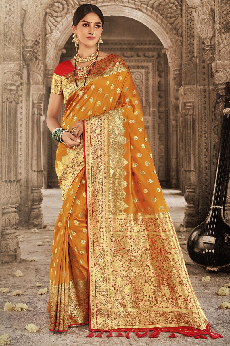 Orange Color Wedding Wear Designer Art Silk Fabric Weaving Work Saree