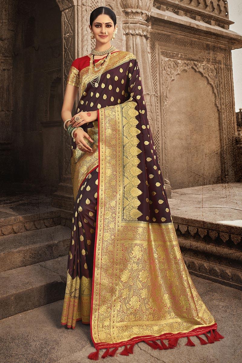Art Silk Fabric Reception Wear Brown Color Weaving Work Saree