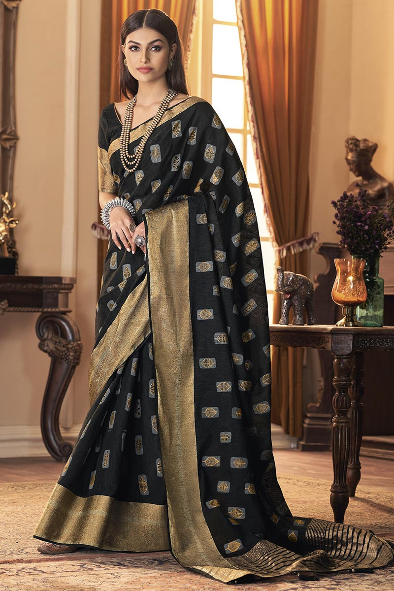 Party Style Trendy Art Silk Fabric Saree In Black Color