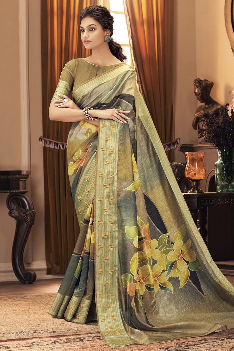 Art Silk Fabric Trendy Party Style Multi Color Saree