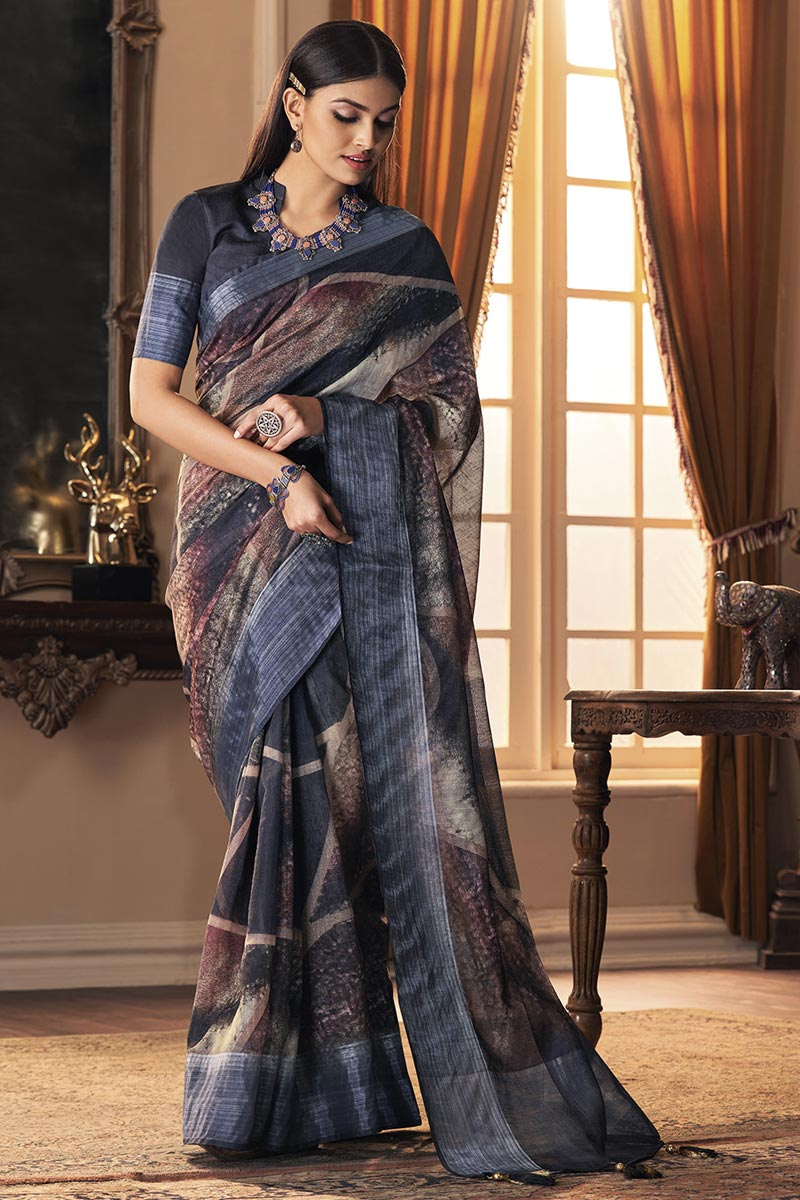 Grey Color Party Style Art Silk Fabric Trendy Saree