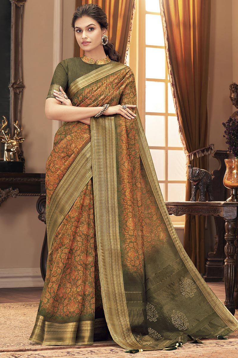 Party Style Trendy Orange Color Saree In Art Silk Fabric