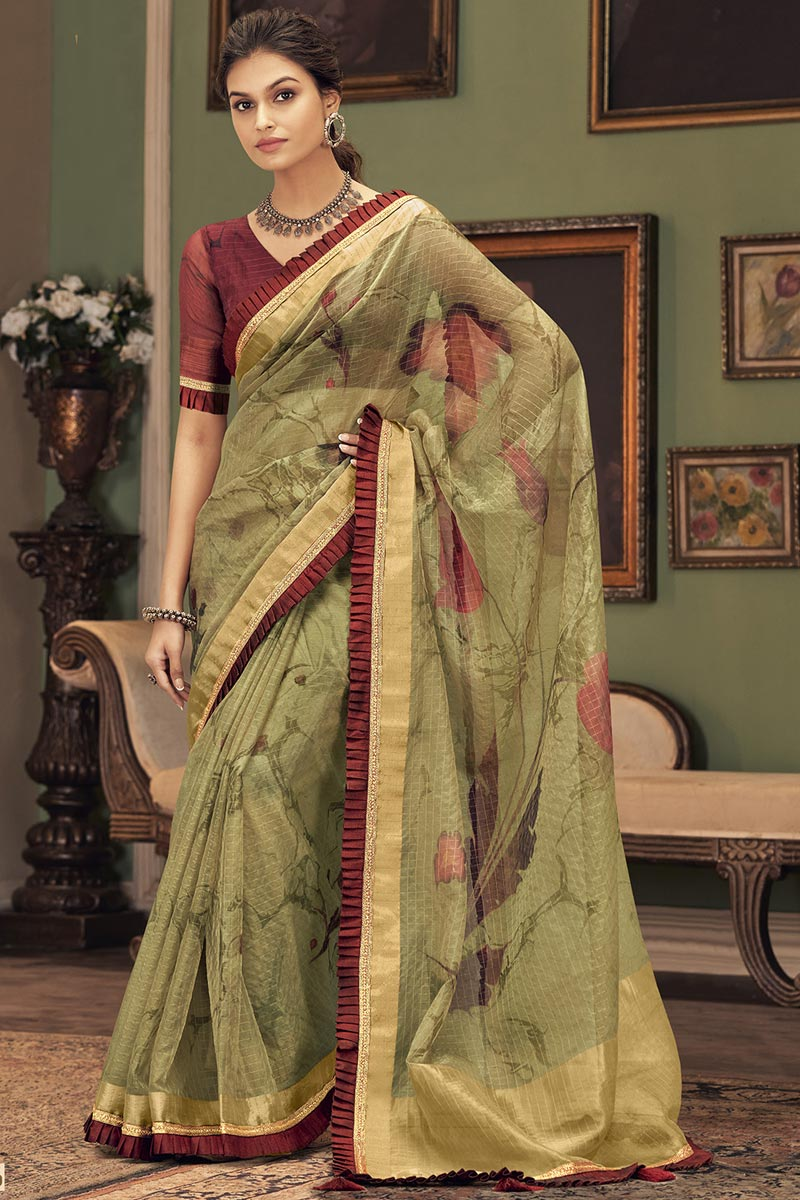 Party Style Trendy Sea Green Color Saree In Art Silk Fabric