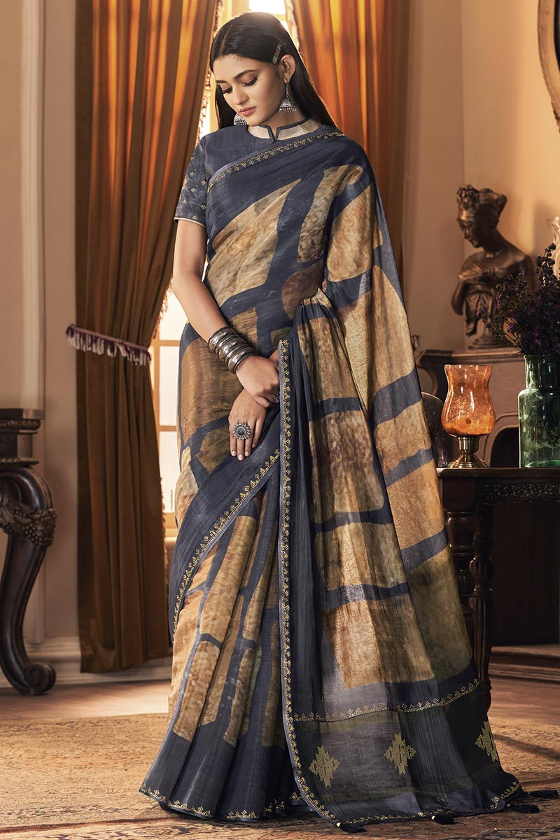 Party Style Art Silk Fabric Trendy Grey Color Saree