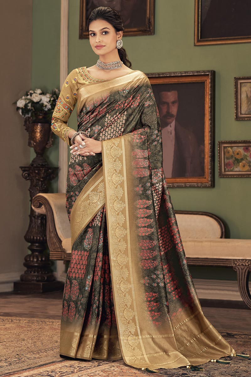 Party Style Dark Beige Color Trendy Saree In Art Silk Fabric