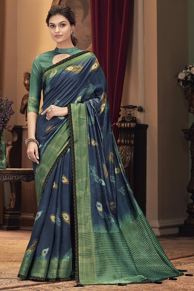 Art Silk Fabric Party Style Trendy Navy Blue Color Saree